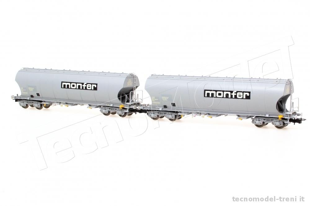 H0 1:87 Set 2 carri FS tramoggia a pareti tonde Uagpps epoca IV-V RIVAROSSI HR6426 MONFER