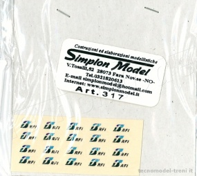 Simplon Model 317 Decals ad acqua FS RFI, 20 pz.