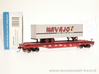 Bachmann 16701 Flat car W/ piggy back trailer Santa Fe