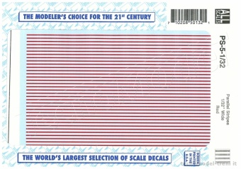 Microscale PS-5-1/32 Decals strisce parallele rosse, mm 0,79
