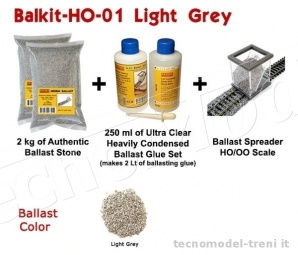 Proses BALKIT-01 Kit completo per la posa del ballast (Light Grey)