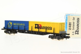 Rivarossi 2481 DB carro pianale con container Scala N 1/160