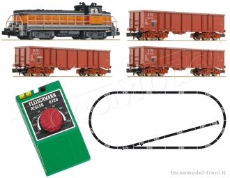Fleischmann 931603 Start Set Analogico scala N : locomotiva Diesel Gruppo BB 63000 con treno merci, SNCF